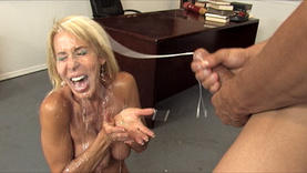 cute blond pornstar plays with dildo