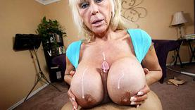 big tits granny doing handjob