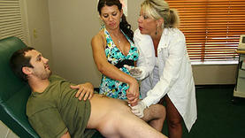 horny carey riley doing handjob with doctor