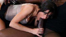 brunette milf gets black cock