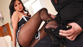 brunette girl in lingerie doing hot footjob in office