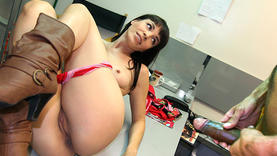 wild brunette whore gets black cock
