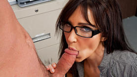 brunette girl in glasses gets facial