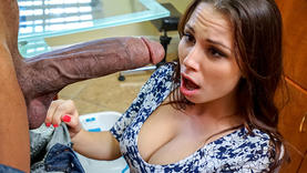 brunette slut gets massive cumshot