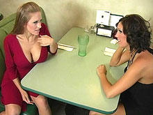 Two Cock Hungry MILFS dining...