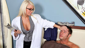 big tits milf in glasses gets facial with doctor