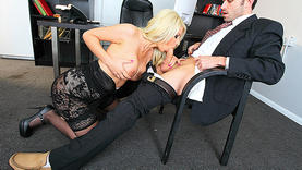 big tits blonde girl in the office